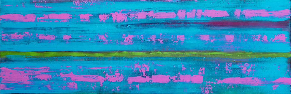 The Green Line - Painting by Kris Mercer. Painting on Canvas. One of a kind artwork. Size: 40cm x 120cm x 2cm. Ready to hang