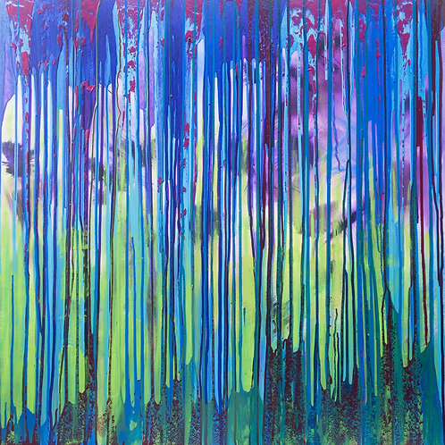 Enchanted woodland. XL Original Painting on canvas, ready to hang. 100 x 100cm