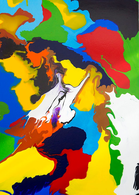 Multicoloured abstract painting on canvas