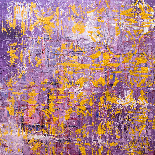 Chinese New Year - purple and yellow painting, ready to hang. 50cm x 50cm