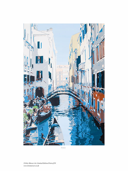 Venice, Print by Kris Mercer. From a limited edition of 50. Fine Art Paper. Size 40cm x 30cm - Image size 30cm x 20cm