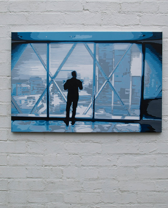 """Window of opportunity. Painting  on Canvas by Kris Mercer. Blue Painting. One of a kind artwork. Size: 24"""" x 36"""""""