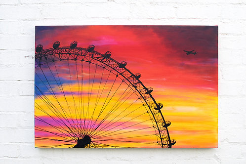 London eye sunset by Kris Mercer. Painting on canvas ready to hang. 61cm x 91cm