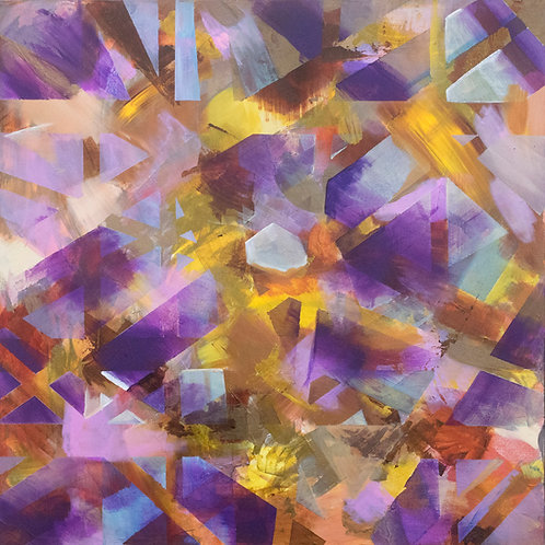 Amadeo. Original Acrylic Painting on canvas ready to hang. Purple and yellow