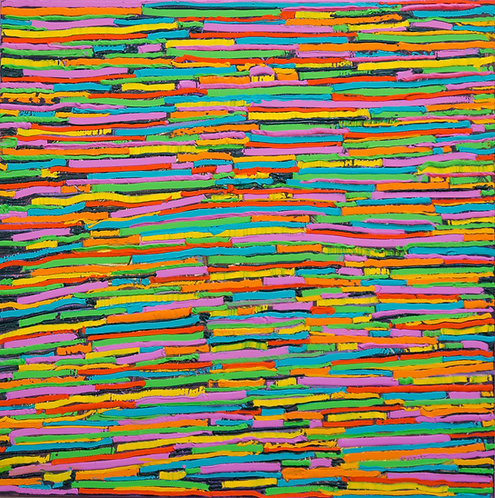 Candy Canes - Painting by Kris Mercer - Abstract Painting on Canvas. One of a kind artwork, Size: 50cm x 50cm x 5cm