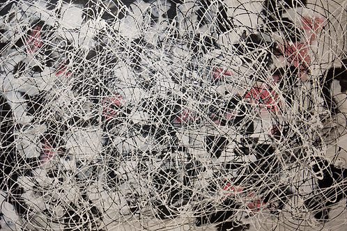 Large action painting in the style of Jackson Pollock. This painting is black, white and silver with a smattering of pink   X