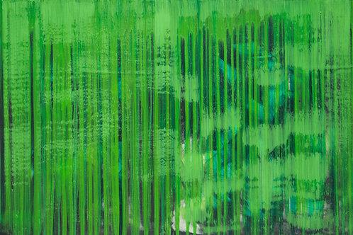 Behind the Li(n)es - Painting by Kris Mercer. Painting on Plywood. One of a kind artwork. Size: 61cm x 91.4cm x 2cm