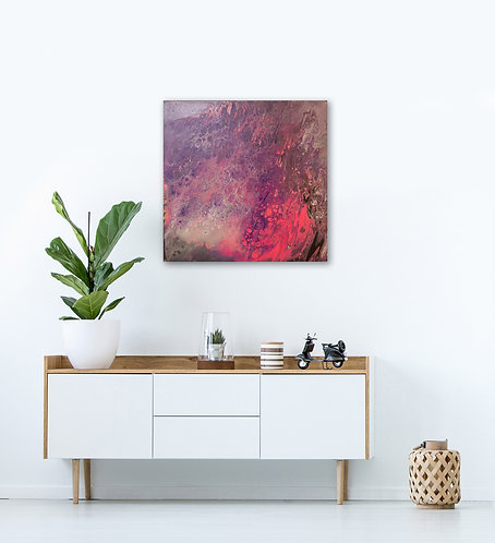 Lava flow. Original Acrylic Painting on canvas, ready to hang. 61cm x 61cm. In room view