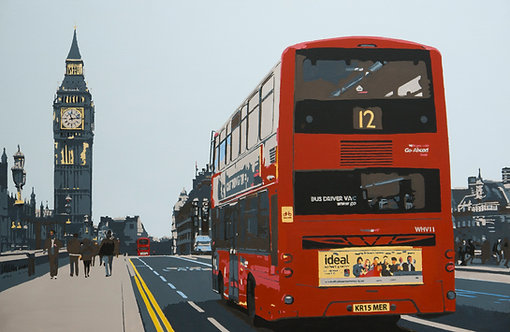 The-no.12-bus Painting by Kris Mercer, Red London Bus near Big Ben