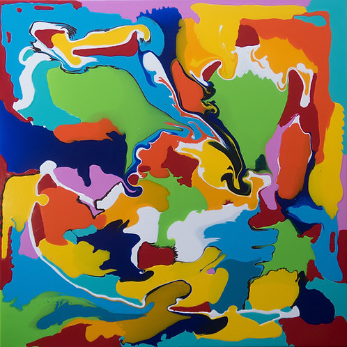 Spring Passion - by Kris Mercer. Abstract Painting on Canvas. One of a kind artwork. Size: 90cm x 90cm x 2cm