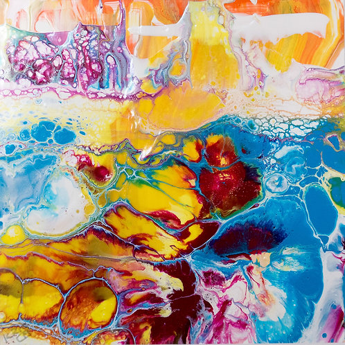 "An Ocean tale II - Painting by Kris Mercer. Painting on Yupo. One of a kind artwork. Size: 10"" x 10"" x 1.5"" framed"