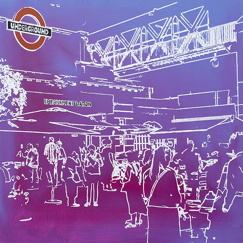 Underground - Embankment Station Painting by Kris Mercer. Painting on Canvas. One of a kind artwork. Size: 61cm x 61c