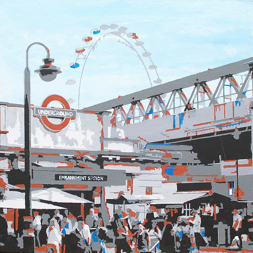 Embankment Station - London city painting on Canvas board by Kris Mercer.
