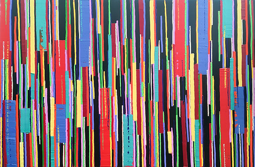 Thinking Outside the Box - Painting by Kris Mercer, Painting on Canvas, One of a kind abstract artwork. Size: 80 x 120cm