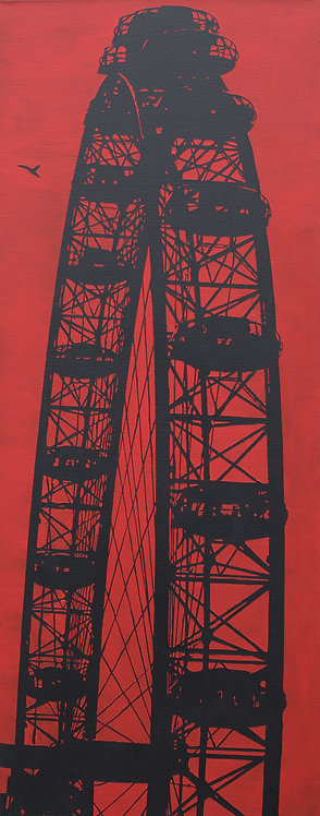 Riding high in red, Millennium wheel
