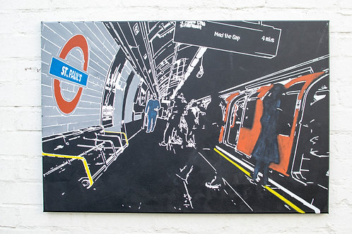 "Mind the gap Painting by Kris Mercer. Painting on Canvas Underground station at St Paul's Cathedral. Size: 24"" x 36"""