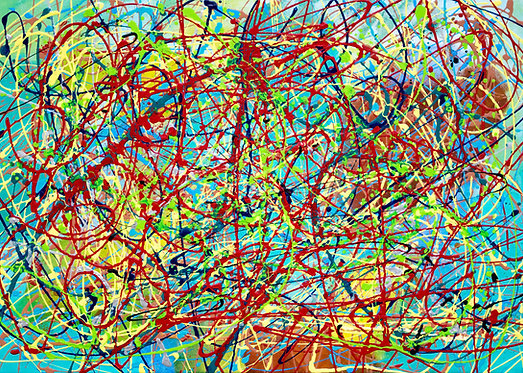 Child's play, multicoloured abstract painting on canvas. Ready to hang