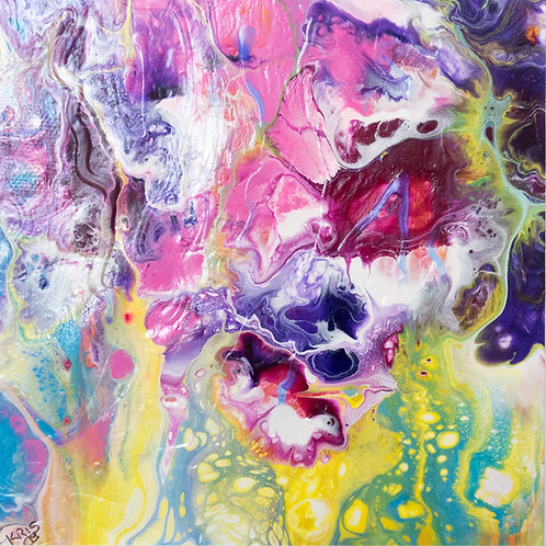 "An Ocean tale V - Painting by Kris Mercer. Abstract Painting on Yupo. One of a kind artwork. Size: 10"" x 10"" x 1.5"" framed"