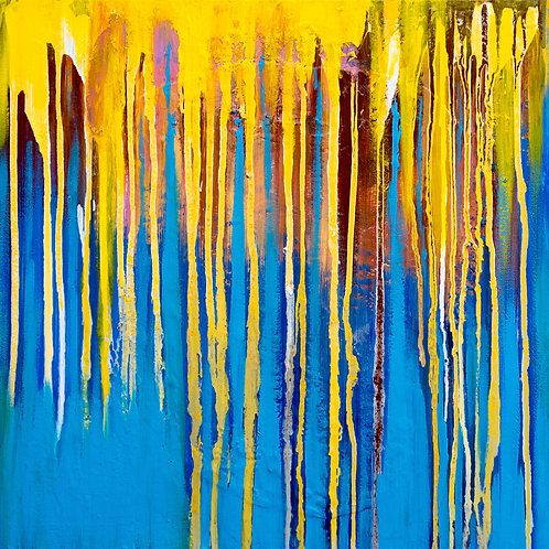 Golden Illuminations, abstract painting on canvas. Ready to hang 50cm x 50cm