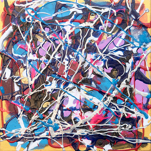 Another Day - Painting by Kris Mercer Abstract Painting on Canvas, One of a kind artwork. Size: 20cm x 20cm x 3cm