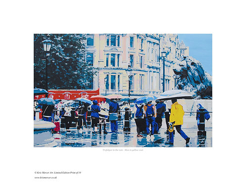 Man in a yellow coat. Trafalger Square London, Print by Kris Mercer. From a limited edition of 10. Fine Art Paper