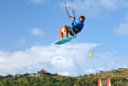 Kitesurfing off Necker Island