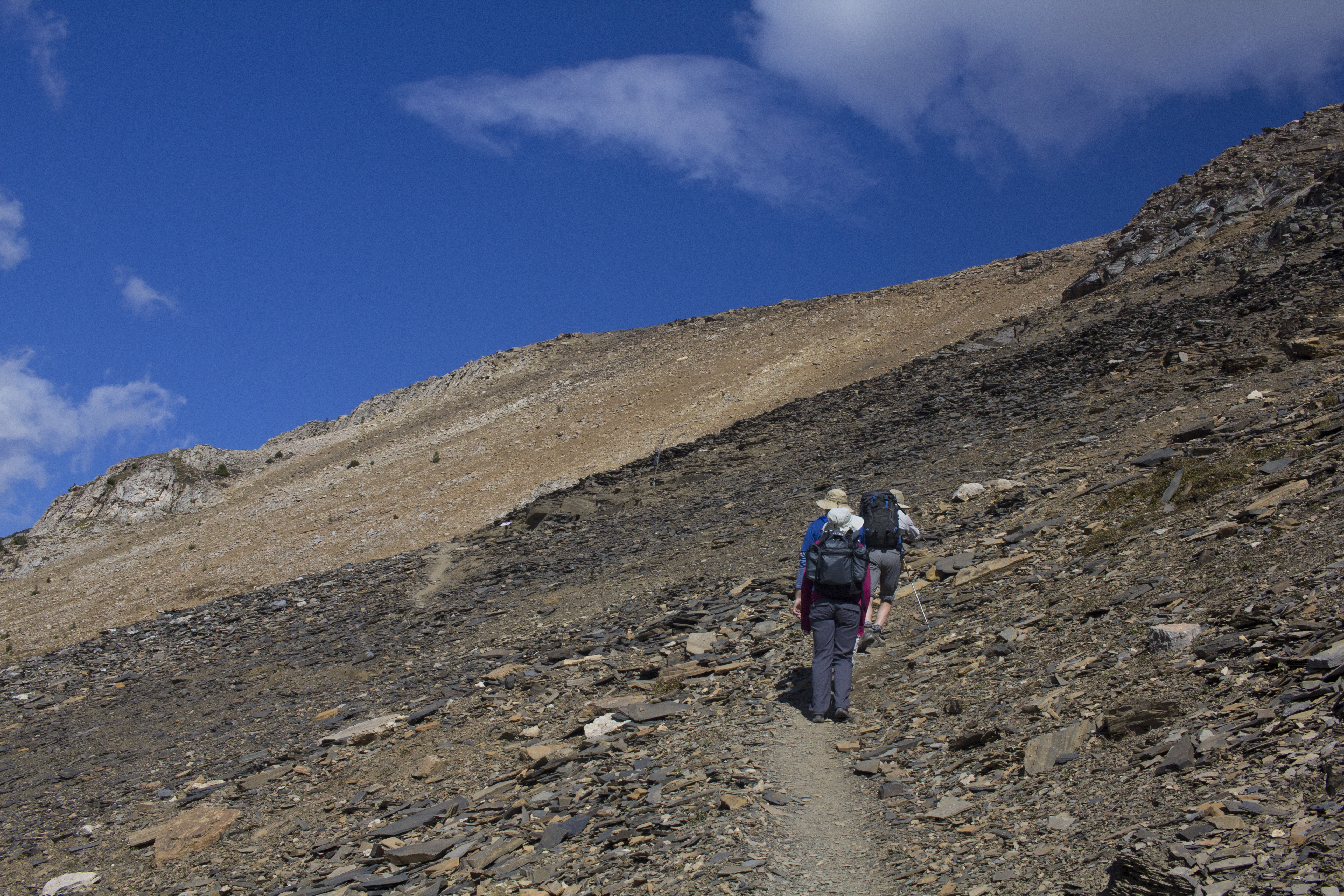 Hikers approaching the Burgess Shale