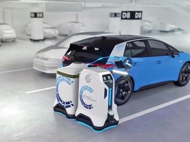Volkswagen Unveils Autonomous Charging Robot for Parked Electric Vehicles