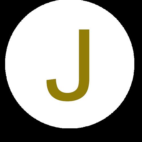 LETTER J GOLD LARGE CIRCLE