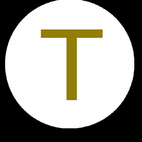 LETTER T GOLD LARGE CIRCLE