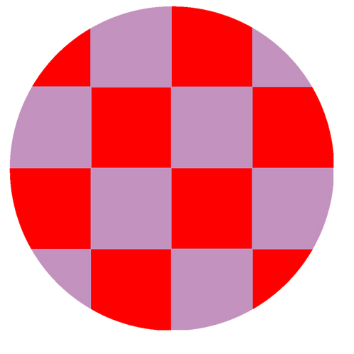 SMALL ROUND CHECKED RED BASE