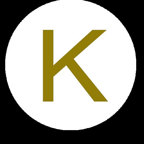 LETTER K GOLD LARGE CIRCLE