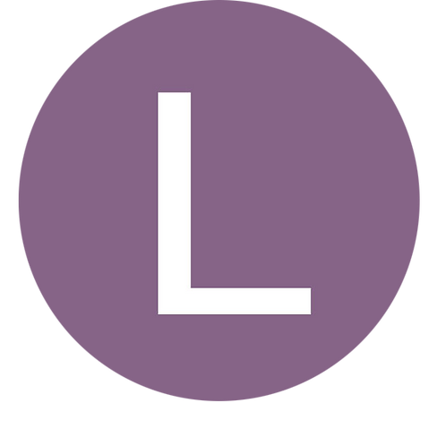 LETTER L WHITE LARGE CIRCLE