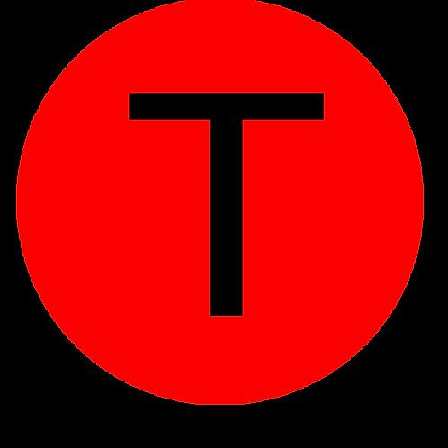 LETTER T BLACK LARGE CIRCLE