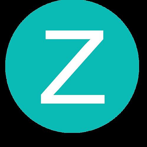 LETTER Z WHITE LARGE CIRCLE