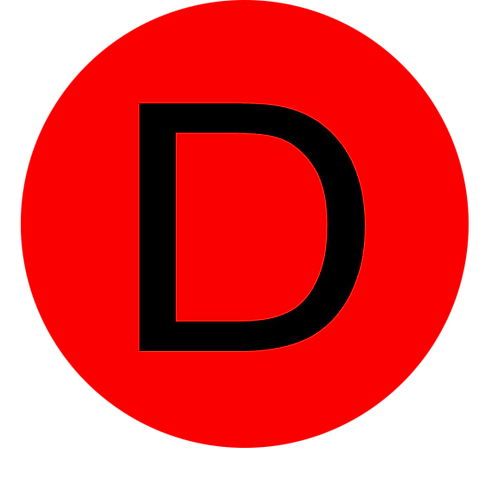 LETTER D BLACK LARGE CIRCLE