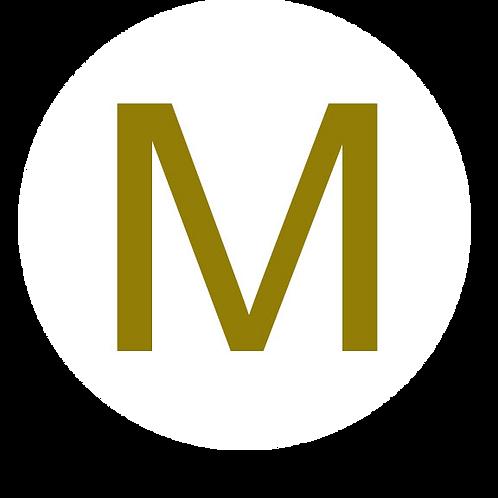 LETTER M GOLD LARGE CIRCLE