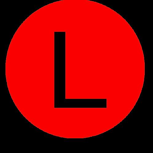 LETTER L BLACK LARGE CIRCLE