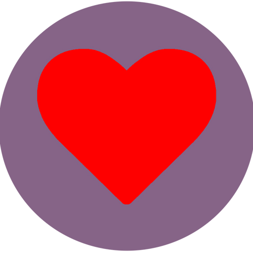 LARGE CIRCLE RED HEART