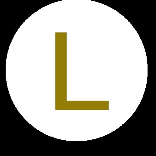LETTER L GOLD LARGE CIRCLE