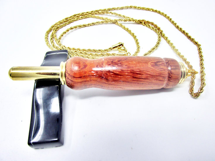 Handmade Bubinga Exotic Wood Seam Ripper Necklace with 24kt Gold Plating