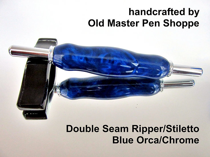 Handmade Blue Orca Seam Ripper/Stiletto with Chrome Plating