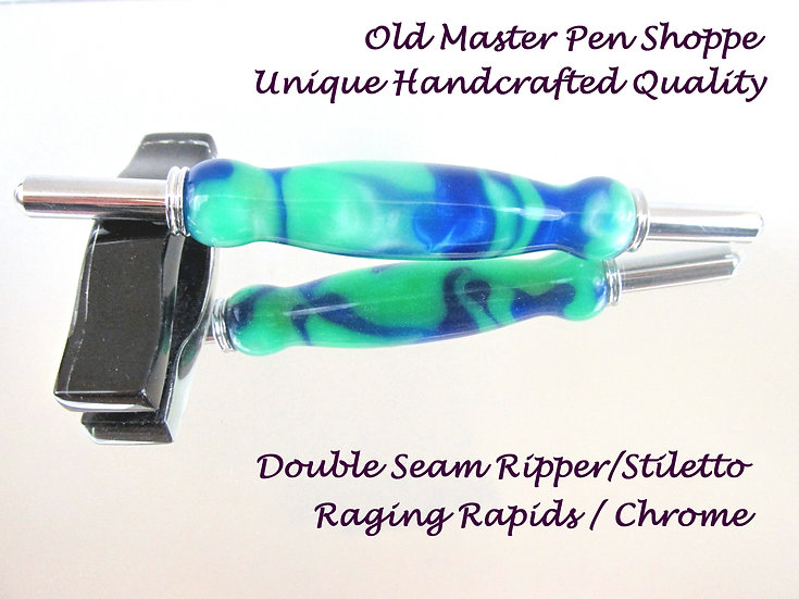 Handmade Raging Rapids Double Seam Ripper/Stiletto with Chrome Plating