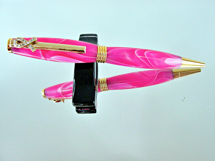 Handmade Luscious Saturn Breast Cancer Awareness Pen with Chrome Pla