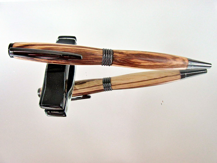 Handmade Zebrawood Saturn Ballpoint Pen with Gun Metal Plating