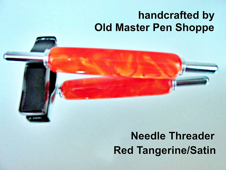 Handmade Red Tangerine Needle Threader with Chrome Plating
