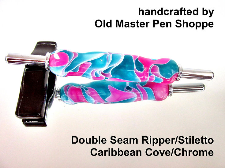 Handmade Caribbean Cove Seam Ripper/Stiletto with Chrome Plating