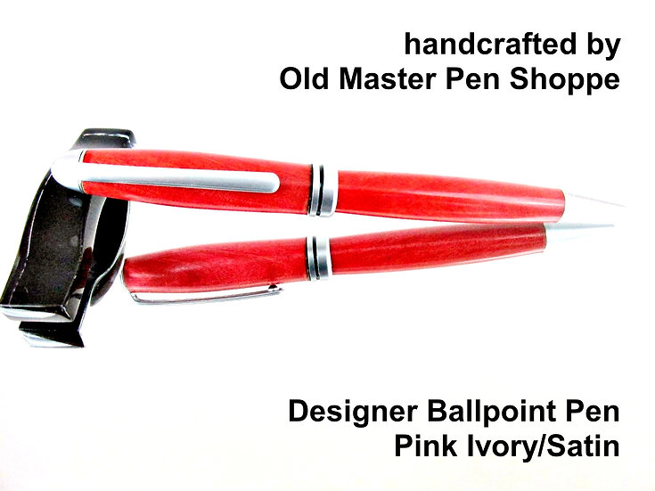 Handmade Pink Ivory Designer Ballpoint Pen With Satin Plating