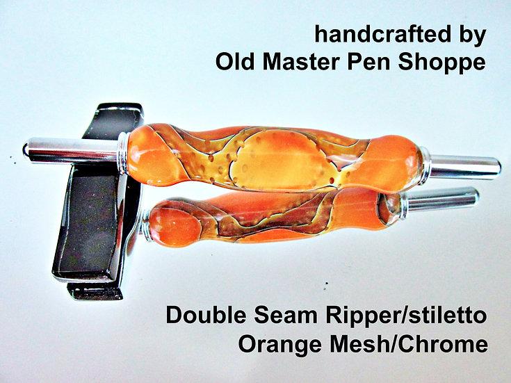 Handmade Orange Mesh Seam Ripper/Stiletto with Chrome Plating