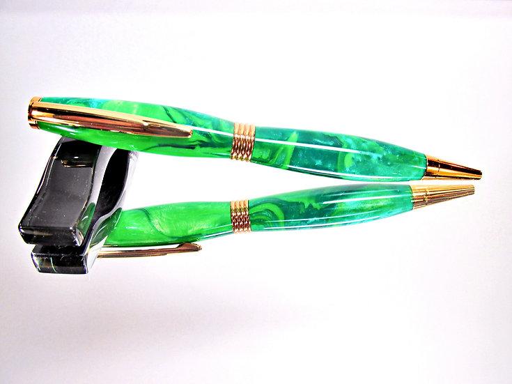Handmade Jungle Moss Saturn Ballpoint Pen with 24kt Gold Plating